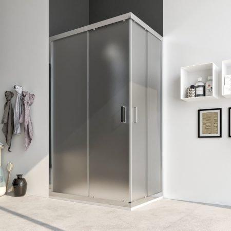 Box doccia angolare con due ante scorrevoli vetro cristallo temperato 6mm satinato Acacia 2019