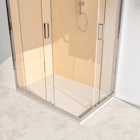 Box doccia angolare con due ante scorrevoli vetro cristallo temperato 6mm trasparente Acacia 2019-2a