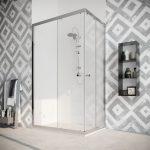 Box doccia angolare con due ante scorrevoli vetro cristallo temperato 8mm trasparente Quercia 2019-01A