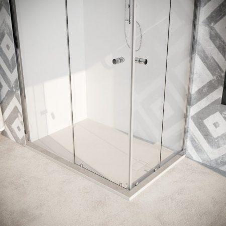 Box doccia angolare con due ante scorrevoli vetro cristallo temperato 8mm trasparente Quercia 2019-02