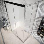 Box doccia angolare con due ante scorrevoli vetro cristallo temperato 8mm trasparente Quercia 2019-03