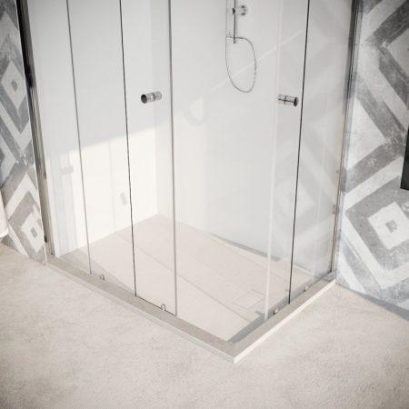 Box doccia angolare con due ante scorrevoli vetro cristallo temperato 8mm trasparente Quercia 2019-04