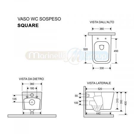 WC Wave – Square SOSPESO scheda tecnica