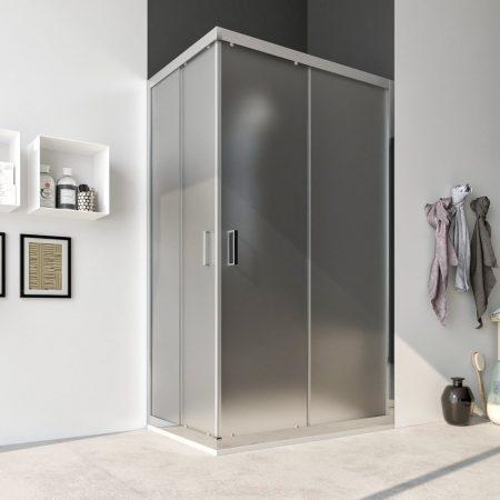 Box doccia angolare con due ante scorrevoli vetro cristallo temperato 6mm satinato Acacia 2019b