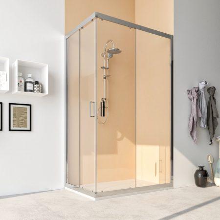 Box doccia angolare con due ante scorrevoli vetro cristallo temperato 6mm trasparente Acacia 2019b