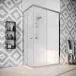 Box doccia angolare con due ante scorrevoli vetro cristallo temperato 8mm trasparente Quercia 2019-01B