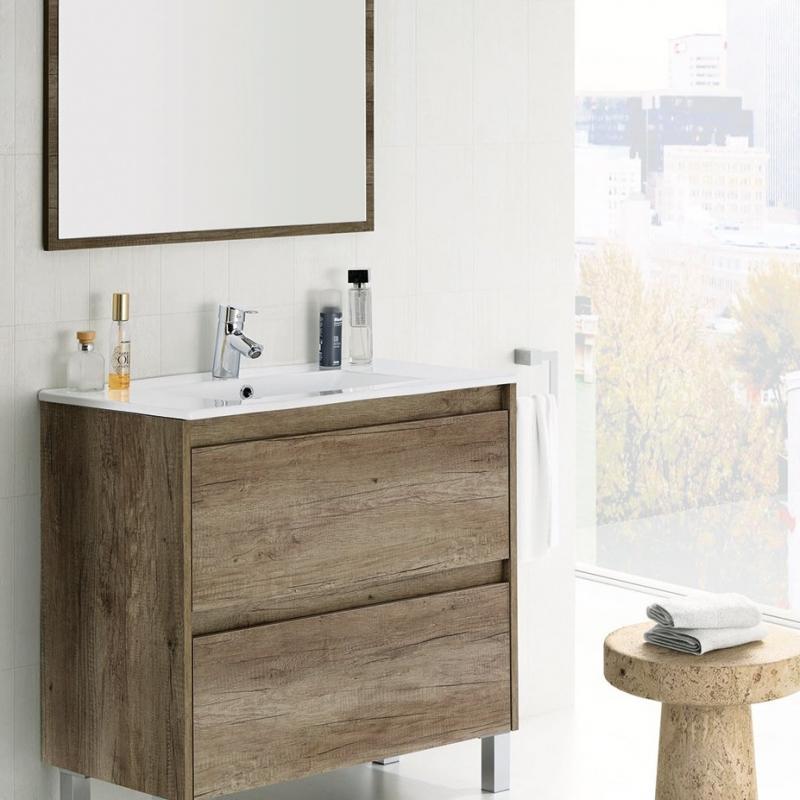Mobile bagno sospeso moderno Dalia 80 cm con lavabo e specchio
