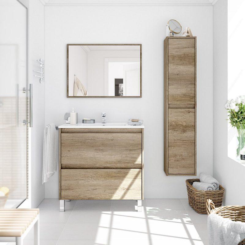 Composizione mobile bagno sospeso moderno 80 cm Dalia con colonna e specchio