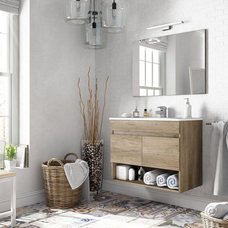 Mobile bagno sospeso moderno Erika 80 cm con lavabo e specchio