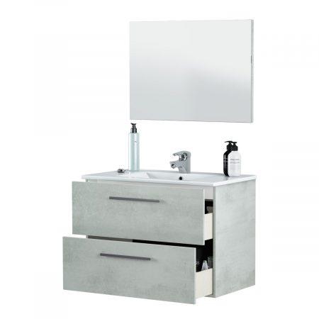 Mobile Bagno 50 Cm.Mobile Bagno Sospeso Moderno Dafne 80 Cm Con Lavabo E Specchio