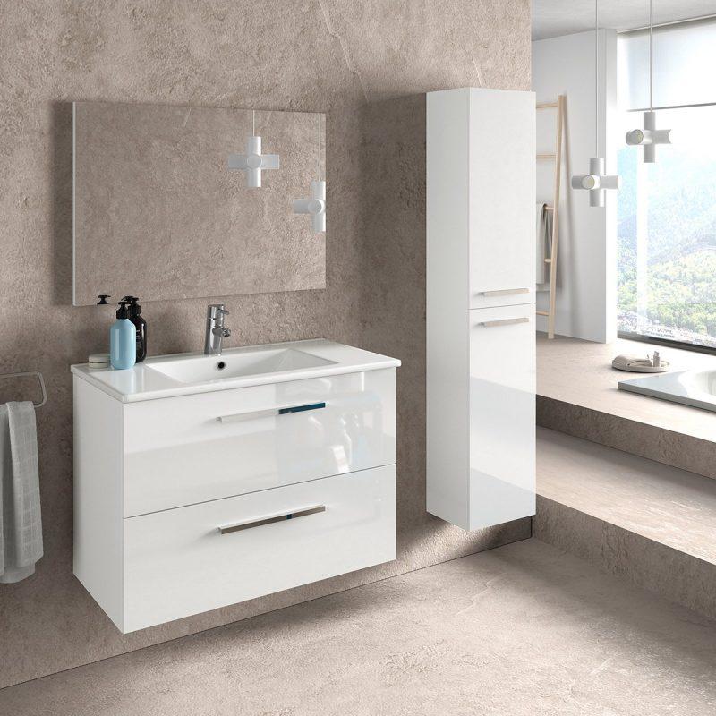 Composizione mobile bagno sospeso moderno 80 Melissa colonna specchio