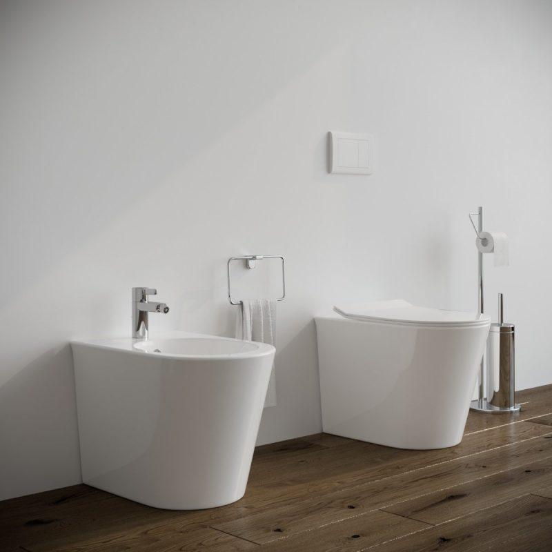 Bidet e Vaso WC Surf filo muro in ceramica completo di sedile softclose