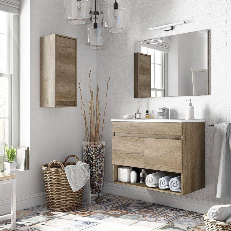 Composizione mobile bagno sospeso moderno 80 cm Erika con pensile e specchio