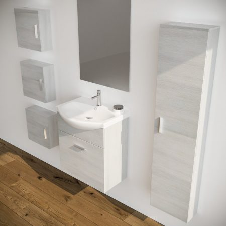 Mobile bagno sospeso moderno rovere Bianco 60 cm con pensile colonna  specchio e luce Ginestra
