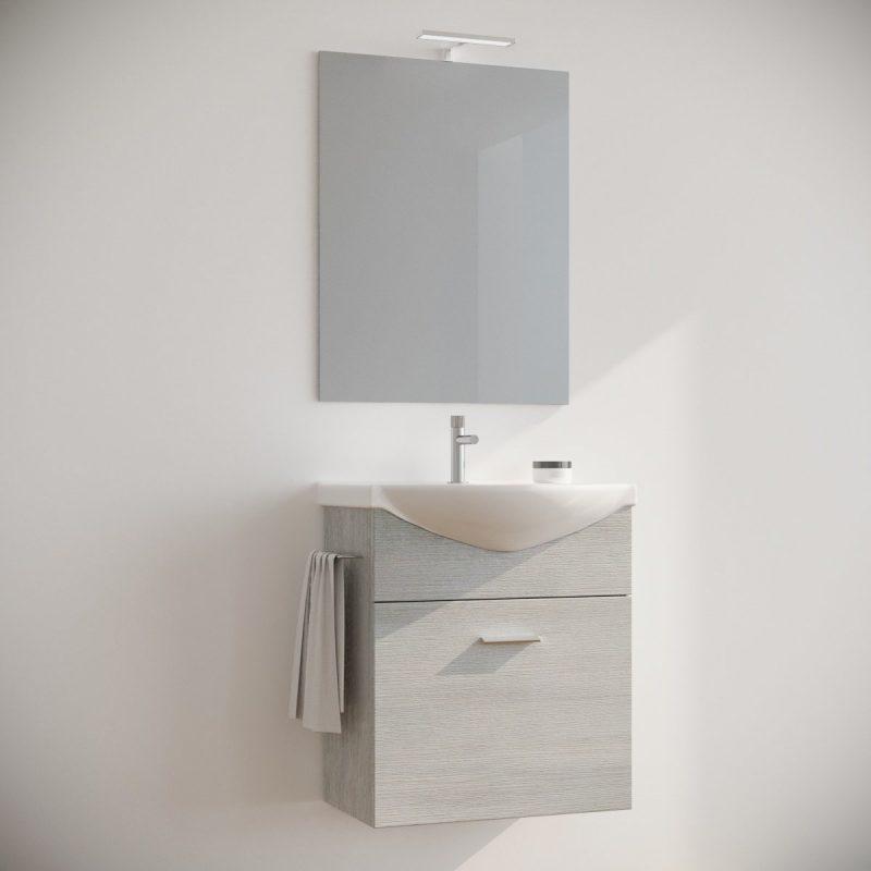 Mobile bagno 60 cm sospeso moderno rovere bianco con specchio e luce. Ginestra