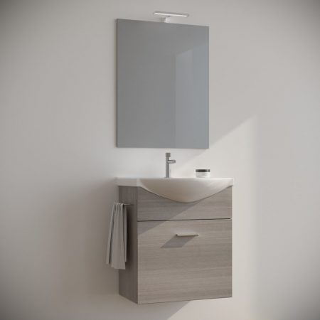 Mobile bagno 60 cm sospeso moderno rovere Grigio con specchio e luce  Ginestra