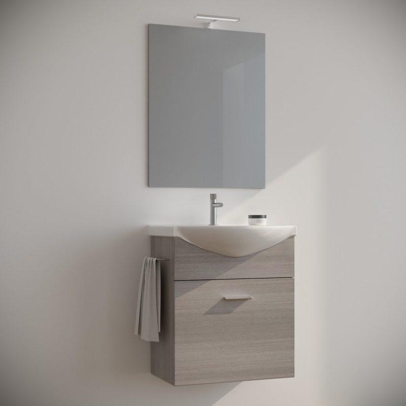Mobile bagno 60 cm sospeso moderno rovere grigio con specchio e luce. Ginestra
