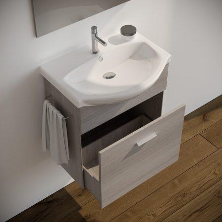 Mobile bagno moderno sospeso colore GRIGIO 60 cm modello ginestra 2019-5