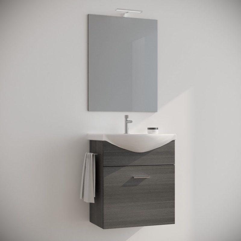 Mobile bagno 60 cm sospeso moderno rovere scuro con specchio e luce. Ginestra
