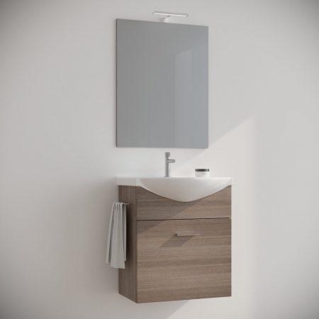 Mobile bagno sospeso moderno rovere Fumo 60 cm con pensile colonna specchio  e luce Ginestra