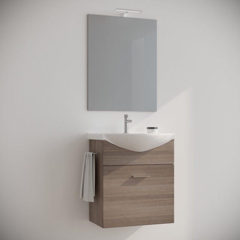 Mobile bagno 60 cm sospeso moderno rovere fumo con specchio e luce. Ginestra