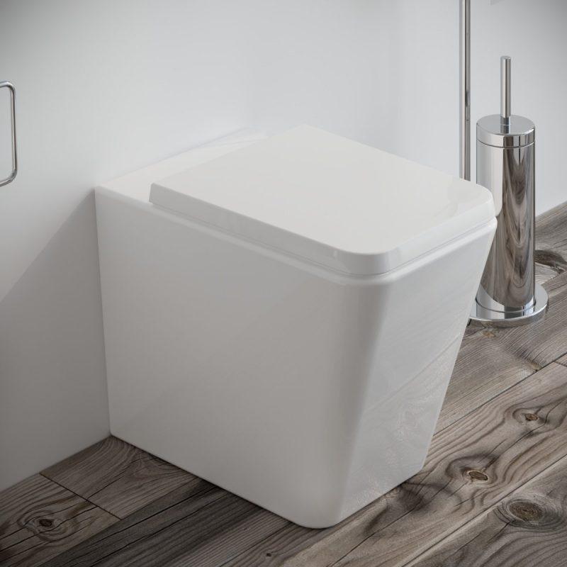 Vaso WC Square filo muro in ceramica completo di sedile softclose