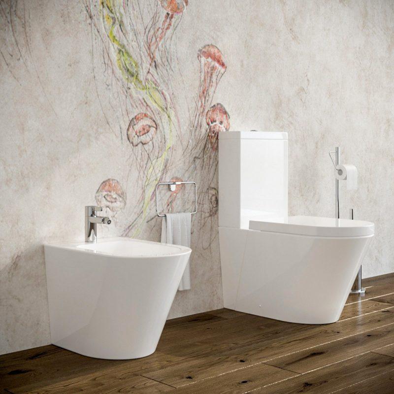 Bidet e Vaso WC monoblocco Arco filo muro in ceramica completo di sedile softclose