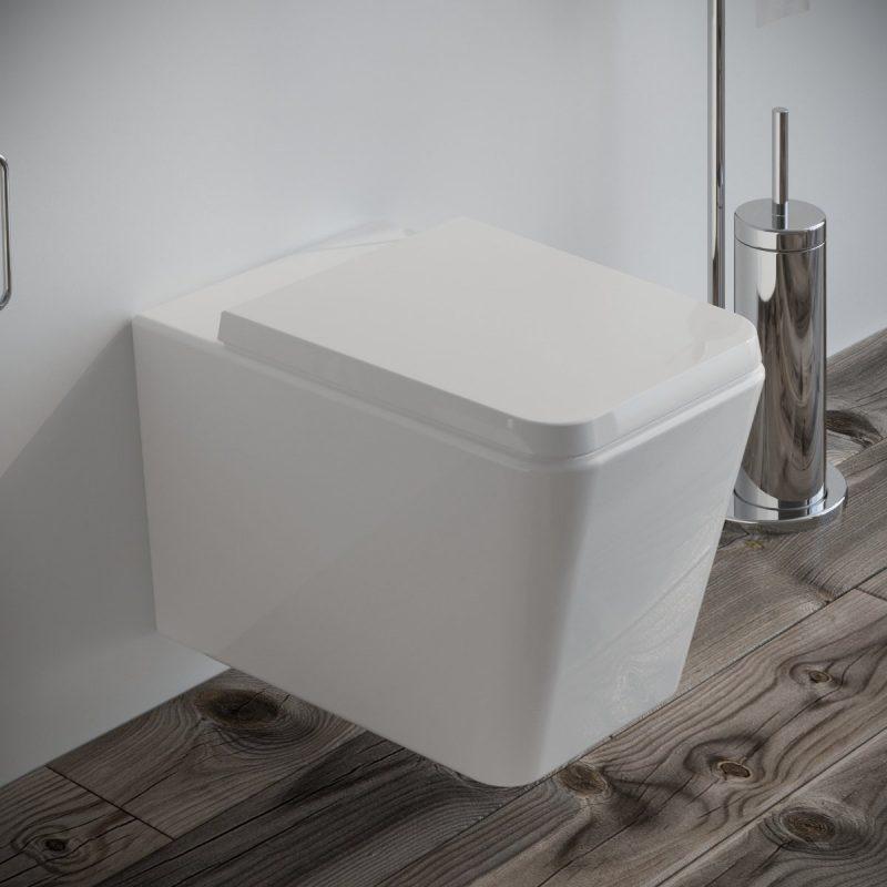 Vaso WC Square sospeso filo muro in ceramica completo di sedile softclose