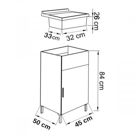 Lavatoio in legno rovere grigio da interno 45x50 1 anta for Scheda tecnica anta ribalta giesse