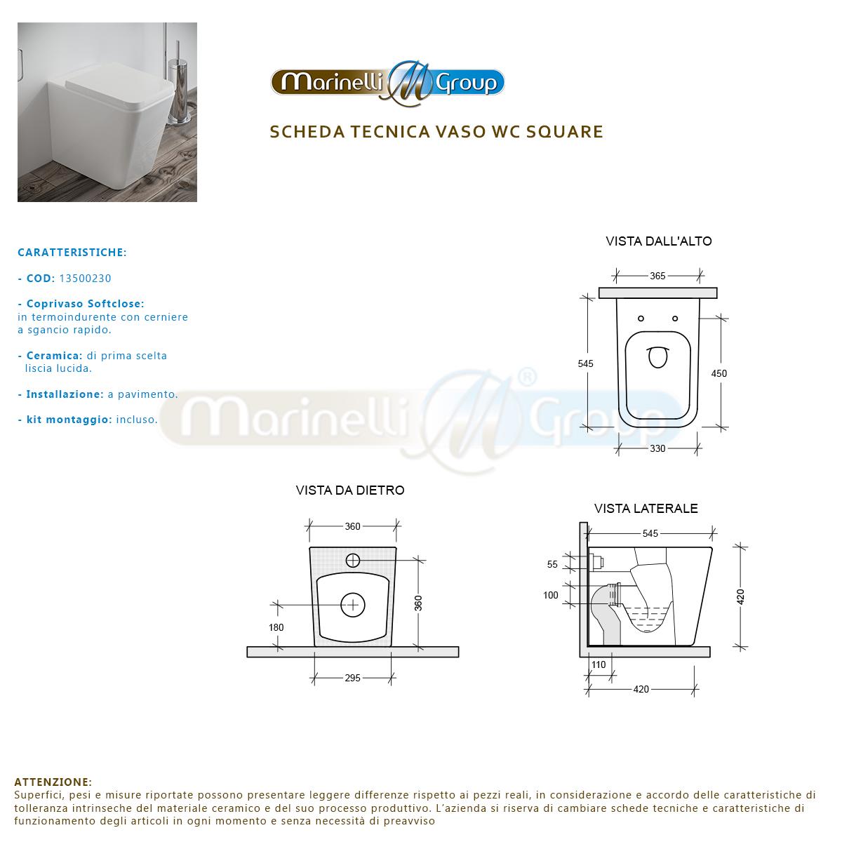 Bidet E Vaso Wc A Terra Square Filo Muro In Ceramica Con Sedile Softclose