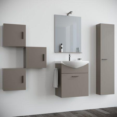 Mobile bagno sospeso moderno Tortora 60 cm con pensile colonna specchio e  luce Papavero