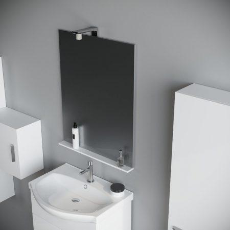 Mobile bagno da 60 cm sospeso moderno Bianco laccato con specchio e luce  Papavero
