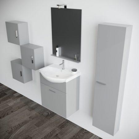 Mobile bagno sospeso moderno Grigio Opaco 60 cm con pensile colonna  specchio e luce Papavero