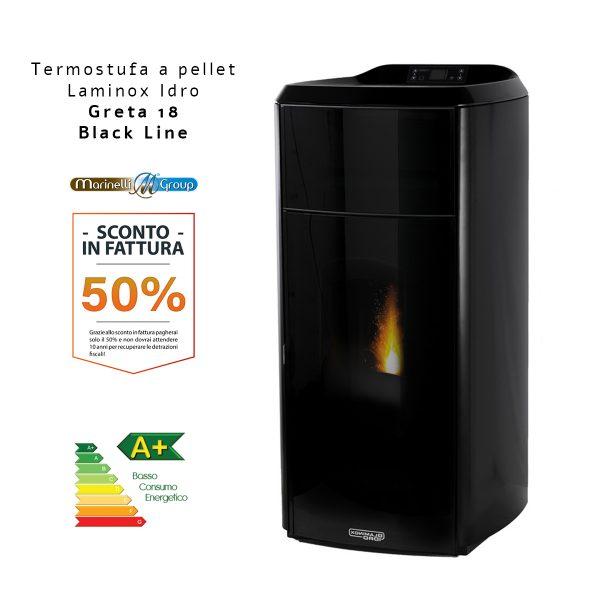Termostufa A Pellet Laminox Idro Greta Idro Lux Black Line NERA