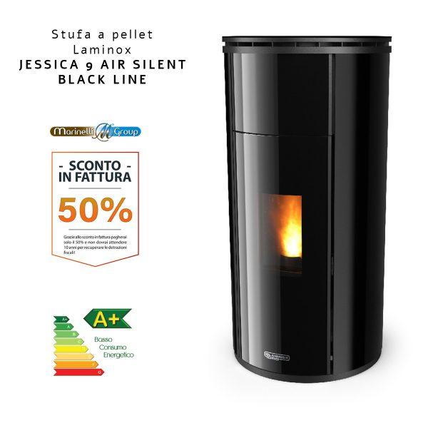 Jessica Silent 7 Air Black Line Stufa a pellet Laminox