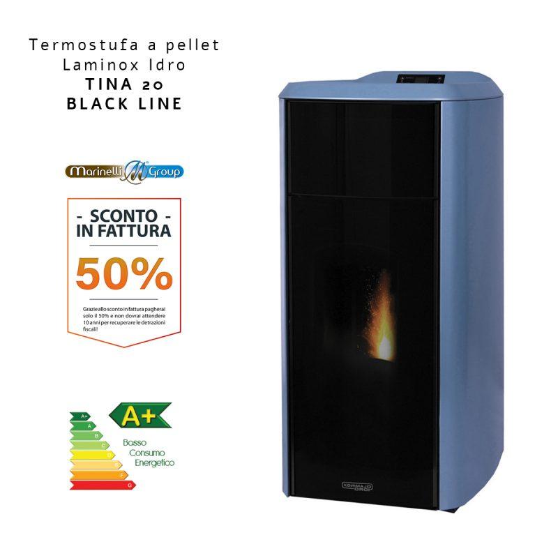 Termostufa A Pellet Laminox Idro Tina Idro Lux Black Line BLU 1